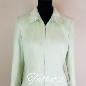 TALBOT'S ZIP UP SILKY JACKET IN GREEN, SIZE…
